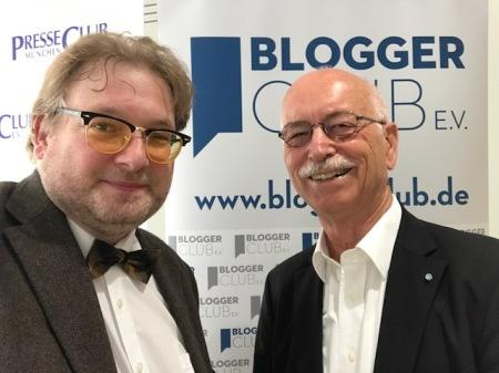 Vorsitzende beim Netzwerken: Matthias . Lange (Bloggerclub) und Peter Schmalz (PresseClub)