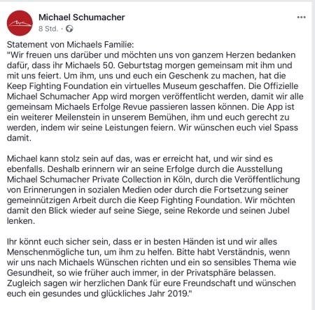 Familie Schumacher dankt und bittet um die Achtung der Privatsphäre.