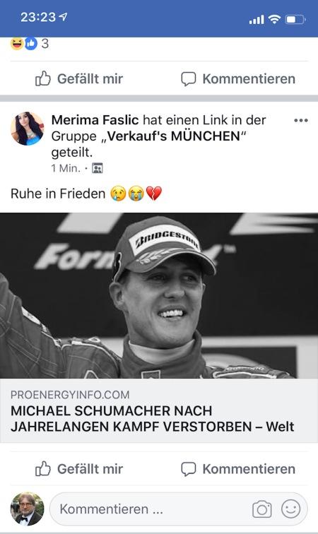 Fake News zum vermeintlichen Tod von Schumacher. Ekelhaft.