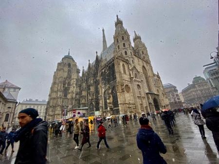 Der Stephansdom im Schnee.