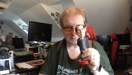 Videokonferenz mit Vorsatzlinse.